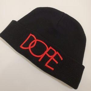 DOPE Brand Black Beanie w/ Red stitch Embroidery